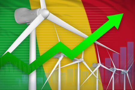 Mali wind energy power rising chart, arrow up  - renewable energy industrial illustration. 3D Illustration Stok Fotoğraf