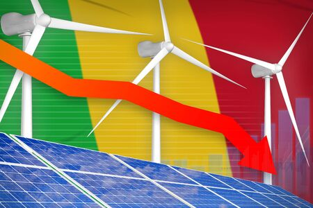 Mali solar and wind energy lowering chart, arrow down  - green energy industrial illustration. 3D Illustration 写真素材