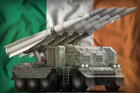 tactical short range ballistic missile with arctic camouflage on the Ireland flag background. 3d Illustration