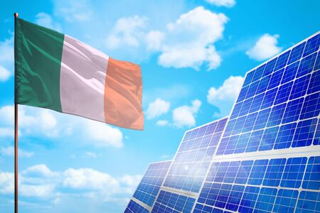 Ireland alternative energy, solar energy concept with flag - symbol of fight with global warming - industrial illustration, 3D illustration