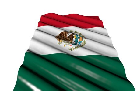 cute memorial day flag 3d illustration  - glossy flag of Mexico with big folds lie isolated on white, perspective view