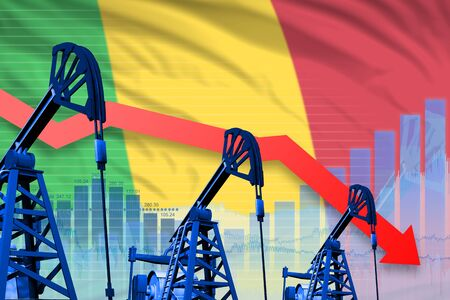 Mali oil industry concept, industrial illustration - lowering, falling graph on Mali flag background. 3D Illustration 写真素材
