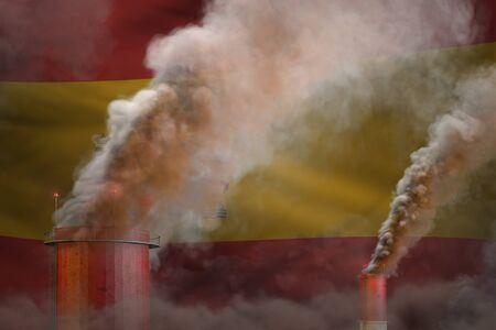 dense smoke of plant pipes on Spain flag - global warming concept, background - industrial 3D illustration Imagens