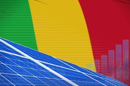 Mali solar energy power digital graph concept  - environmental energy industrial illustration. 3D Illustration