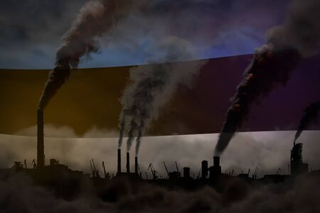 Dark pollution, fight against climate change concept - factory pipes dense smoke on Estonia flag background - industrial 3D illustration