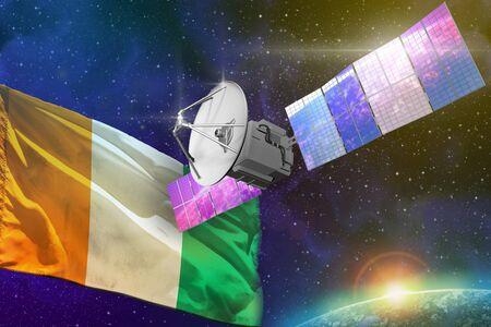 Satellite with Cote d Ivoire flag, space communications technology concept - 3D Illustration