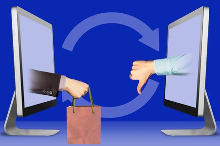 e-commerce concept, hands from laptops. hand with shopping bag and thumbs down, dislike . 3d illustration