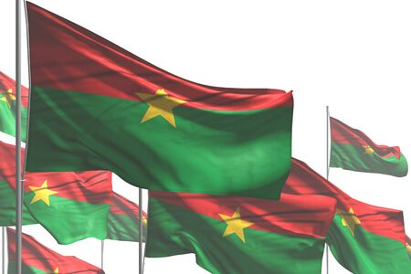 cute many Burkina Faso flags are waving isolated on white - any occasion flag 3d illustration