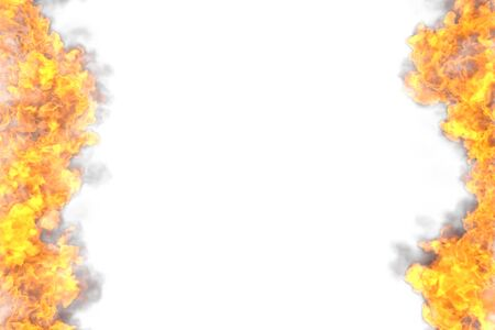 mystery lava frame isolated on white background - fire lines from sides left and right, top and bottom are empty - fire 3D illustration
