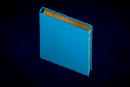 cute high detail blue closed book with gold pages, university concept isolated on dark background - 3d illustration of object