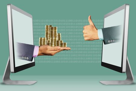 e-commerce concept, hands from displays. pile of coins and thumbs up, like . 3d illustration Фото со стока - 131322922
