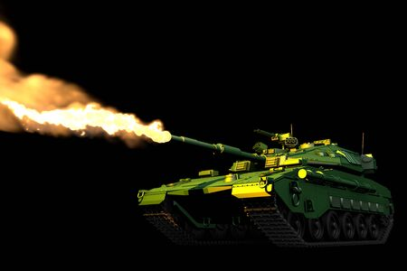 forest camo tank with not real design shooting isolated on black, very high resolution war concept - military 3D Illustration