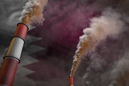 Qatar pollution fight concept - two large factory pipes with dense smoke on flag background, industrial 3D illustration Stok Fotoğraf