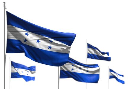 cute memorial day flag 3d illustration  - five flags of Honduras are waving isolated on white - illustration with selective focus