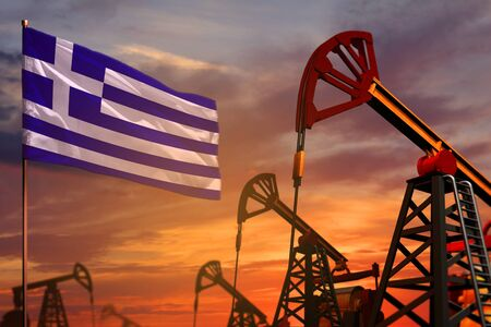 Greece oil industry concept, industrial illustration. Greece flag and oil wells and the red and blue sunset or sunrise sky background - 3D illustration Stock Photo