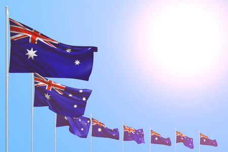 pretty any occasion flag 3d illustration  - many Australia flags placed diagonal on blue sky with space for your content