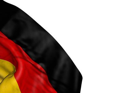 nice Germany flag with large folds lying flat in bottom left corner isolated on white - any feast flag 3d illustration