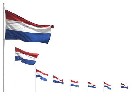cute holiday flag 3d illustration  - many Netherlands flags placed diagonal isolated on white with space for your text