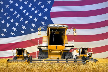 industrial 3D illustration of 4 orange combine harvesters on rural field with flag background, USA agriculture concept Stock Photo
