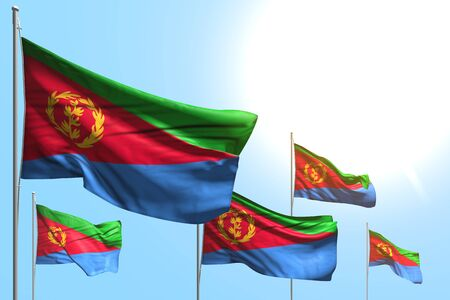 nice 5 flags of Eritrea are waving on blue sky background - any occasion flag 3d illustration Stok Fotoğraf