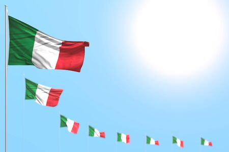 wonderful labor day flag 3d illustration  - many Italy flags placed diagonal with soft focus and free space for text