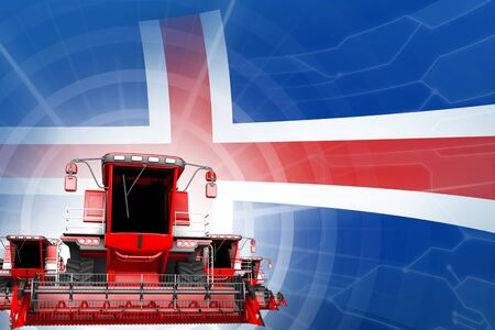 Farm machinery modernisation concept, red modern wheat combine harvesters on Iceland flag - digital industrial 3D illustration
