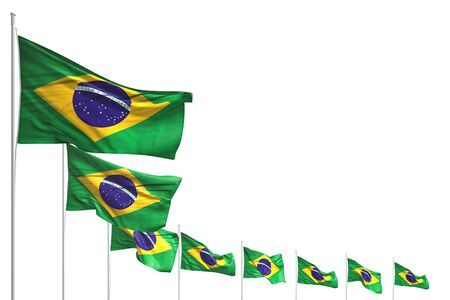 beautiful many Brazil flags placed diagonal isolated on white with place for your text - any holiday flag 3d illustration Фото со стока - 131323175
