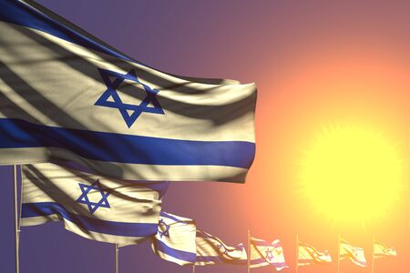 nice day of flag 3d illustration  - many Israel flags placed diagonal on sunset with space for your text