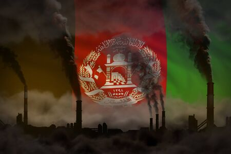Dark pollution, fight against climate change concept - industrial 3D illustration of industry chimneys dense smoke on Afghanistan flag background
