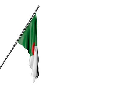 cute Algeria flag hangs on a diagonal pole isolated on white - any holiday flag 3d illustration Stok Fotoğraf