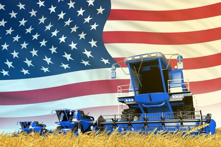 industrial 3D illustration of blue rye agricultural combine harvester on field with USA flag background, food industry concept Stock Photo