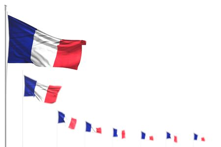 nice holiday flag 3d illustration  - France isolated flags placed diagonal, image with bokeh and space for text