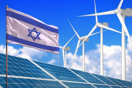 Israel solar and wind energy, renewable energy concept with windmills - renewable energy against global warming - industrial illustration, 3D illustration Stock fotó