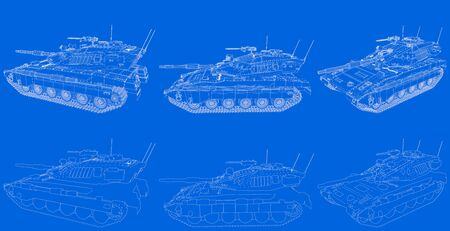Military 3D Illustration of blueprint schema - outlined isolated 3D tank with fictional design, high resolution tank forces concept Banco de Imagens