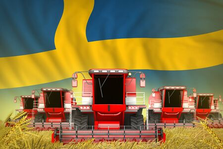 a lot of red farming combine harvesters on grain field with Sweden flag background - front view, stop starving concept - industrial 3D illustration Stock Photo