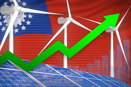 Myanmar solar and wind energy rising chart, arrow up  - green energy industrial illustration. 3D Illustration
