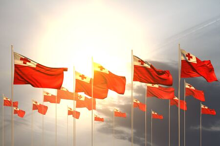 cute many Tonga flags in a row on sunset with free space for text - any occasion flag 3d illustration