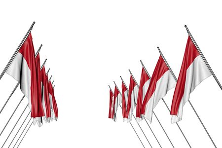 beautiful many Monaco flags hanging on in corner poles from left and right sides isolated on white - any feast flag 3d illustration