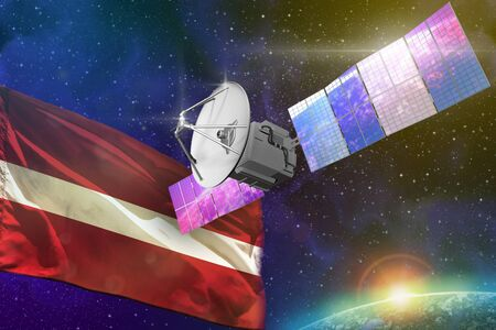 Satellite with Latvia flag, space communications technology concept - 3D Illustration