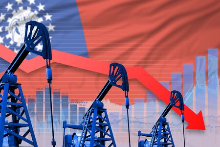 Myanmar oil industry concept, industrial illustration - lowering, falling graph on Myanmar flag background. 3D Illustration