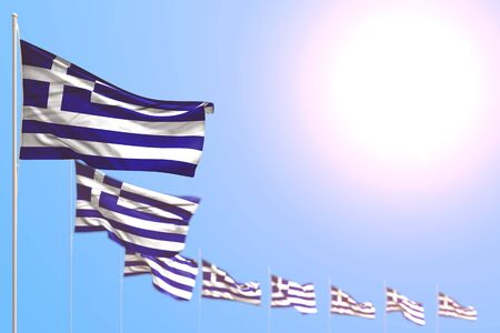 nice many Greece flags placed diagonal with soft focus and free place for content - any occasion flag 3d illustration