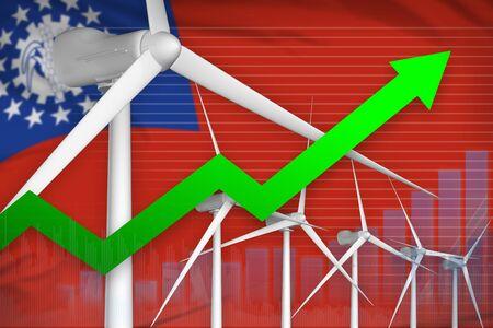 Myanmar wind energy power rising chart, arrow up  - green energy industrial illustration. 3D Illustration Фото со стока