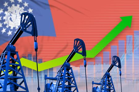 Myanmar oil industry concept, industrial illustration - growing graph on Myanmar flag background. 3D Illustration