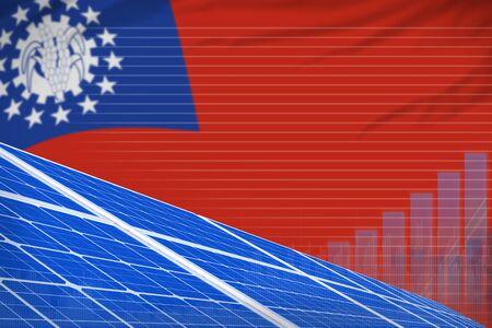 Myanmar solar energy power digital graph concept  - renewable energy industrial illustration. 3D Illustration