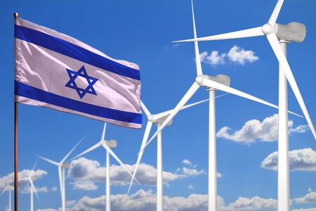 Israel alternative energy, wind energy industrial concept with windmills and flag - alternative renewable energy industrial illustration, 3D illustration 写真素材