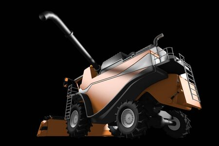 huge cg orange rural agricultural harvester with harvest pipe detached side view isolated on black - industrial 3D illustration Stock Photo