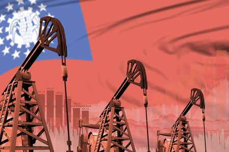 Myanmar oil and petrol industry concept, industrial illustration on Myanmar flag background. 3D Illustration Stock Photo