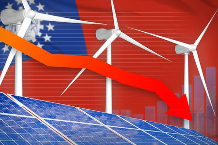 Myanmar solar and wind energy lowering chart, arrow down  - alternative energy industrial illustration. 3D Illustration 写真素材