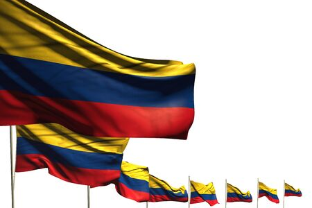 beautiful many Colombia flags placed diagonal isolated on white with space for text - any holiday flag 3d illustration