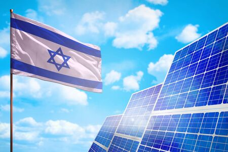 Israel alternative energy, solar energy concept with flag - symbol of fight with global warming - industrial illustration, 3D illustration 写真素材